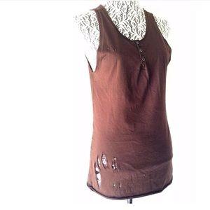 Dolce & Gabbana Brown Distressed Knit Tank Top 46